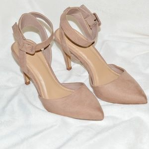 Nude Pointed Toe Ankle Strap Heel